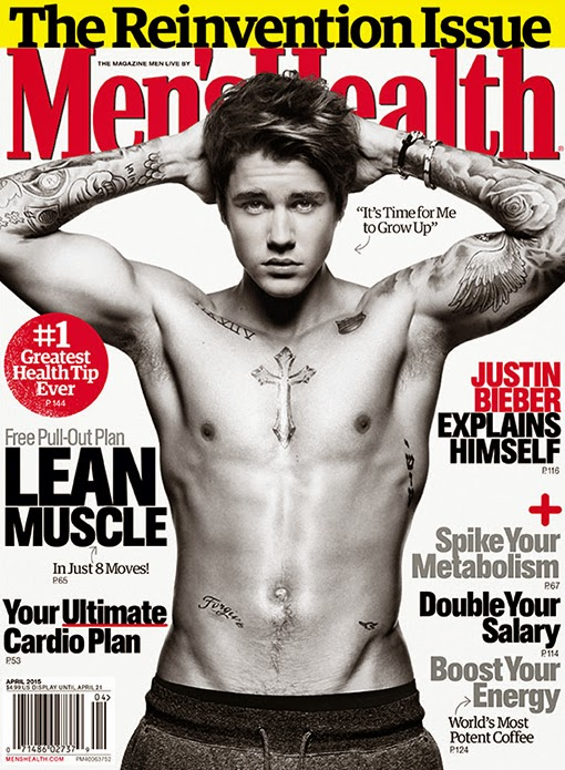 Justin Bieber flaunts chiselled body on Men's Health Magazine April 2015 cover