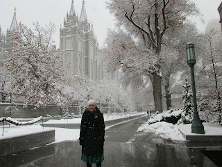in front of temple in the cold