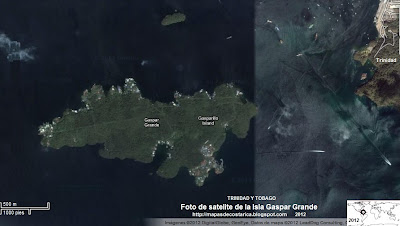 Foto de satelite de la Isla Gaspar Grande, TRINIDAD Y TOBAGO