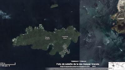 Foto de satelite de la Isla Gaspar Grande, TRINIDAD Y TOBAGO