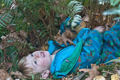 Toddler resting on the hiking trail