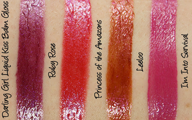 Darling Girl Liquid Kiss Balm Gloss - Ruby Rose, Princess of the Amazons, Leeloo and I'm Into Survival Swatches & Review