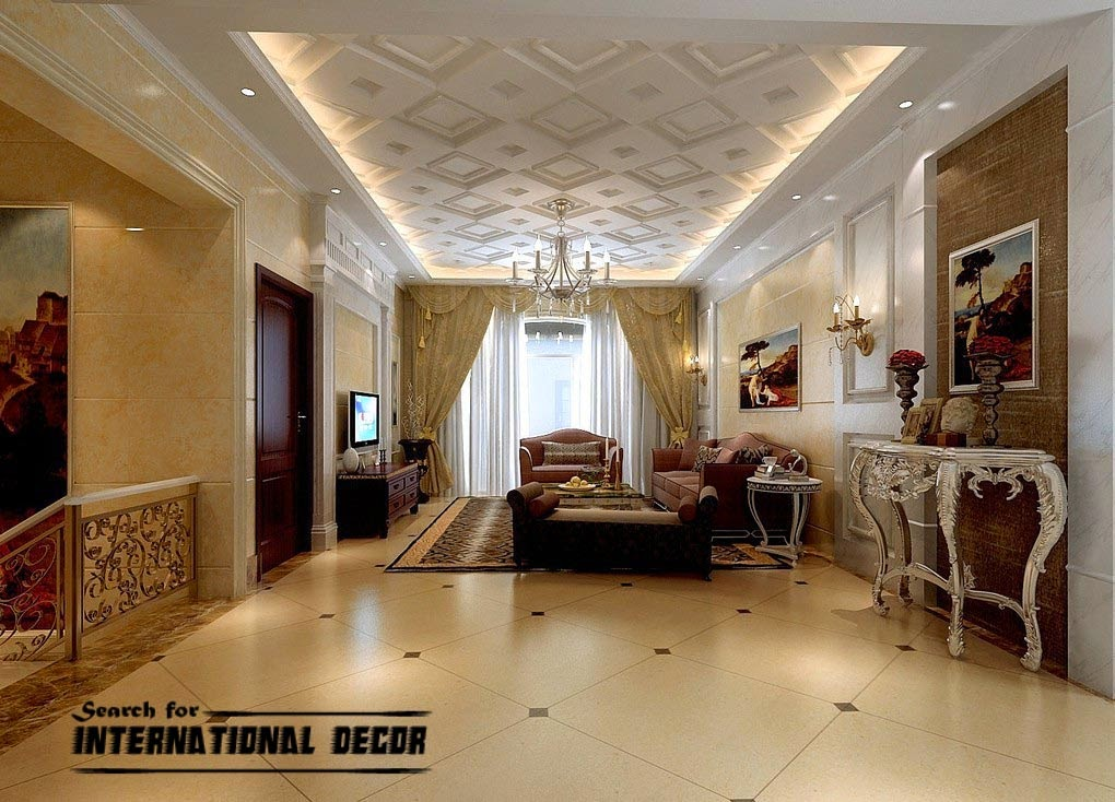 Decorative ceiling tiles with original designs and types - Interior design ceiling living room ...