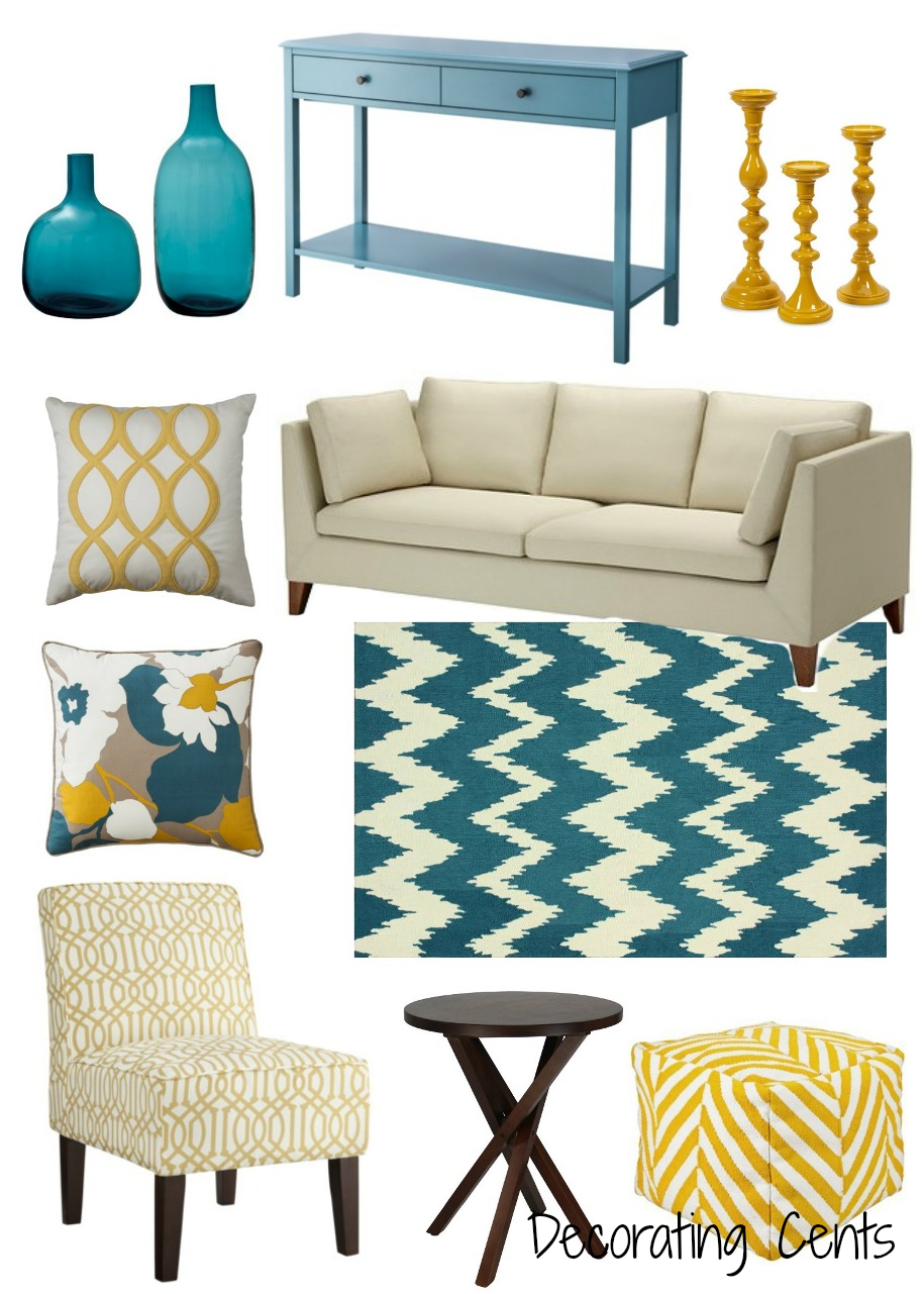 Decorating cents yellow and teal for Tela sofa exterior
