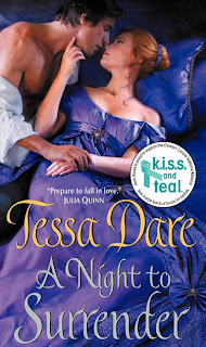 Book cover of A Night to Surrender by Tessa Dare (historical romance novel in Spinsters Cove)