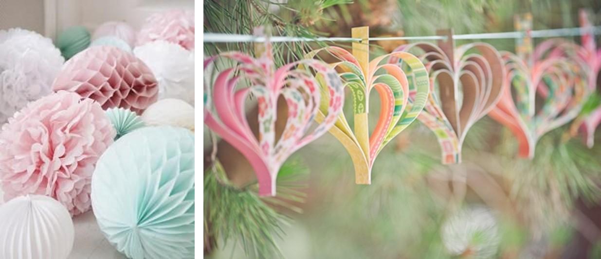 Decoración y guirnaldas de flores para boda primaveral