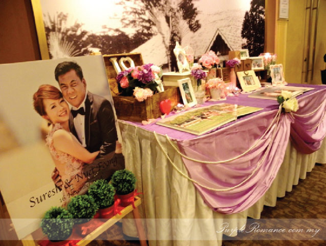 Photo Album Display table Wedding Decoration, welcome board, purple & white wedding theme, malaysia, kuala lumpur, selangor