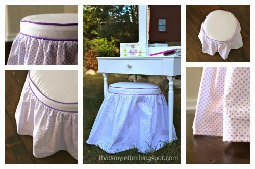 That\'s My Letter: DIY Vanity Stool & Slipcover