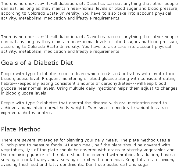 Sugar diabetes diet