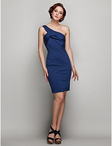 Vestido corto azul marino un hombro