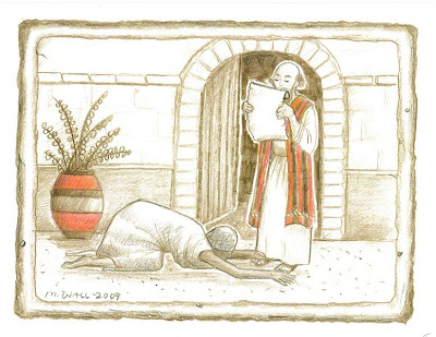Onesimus begging forgiveness from Philemon