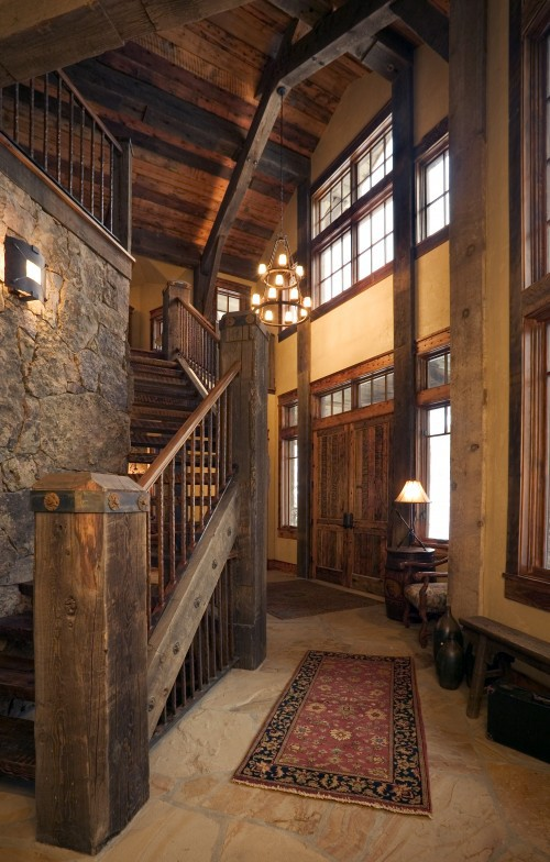 Log Home Foyer : Our vintage home love january
