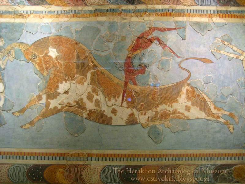 Freska iz palate u Knososu  (1600-1450 pne) detalj, Preskakanje bika , Muzej Heraklion