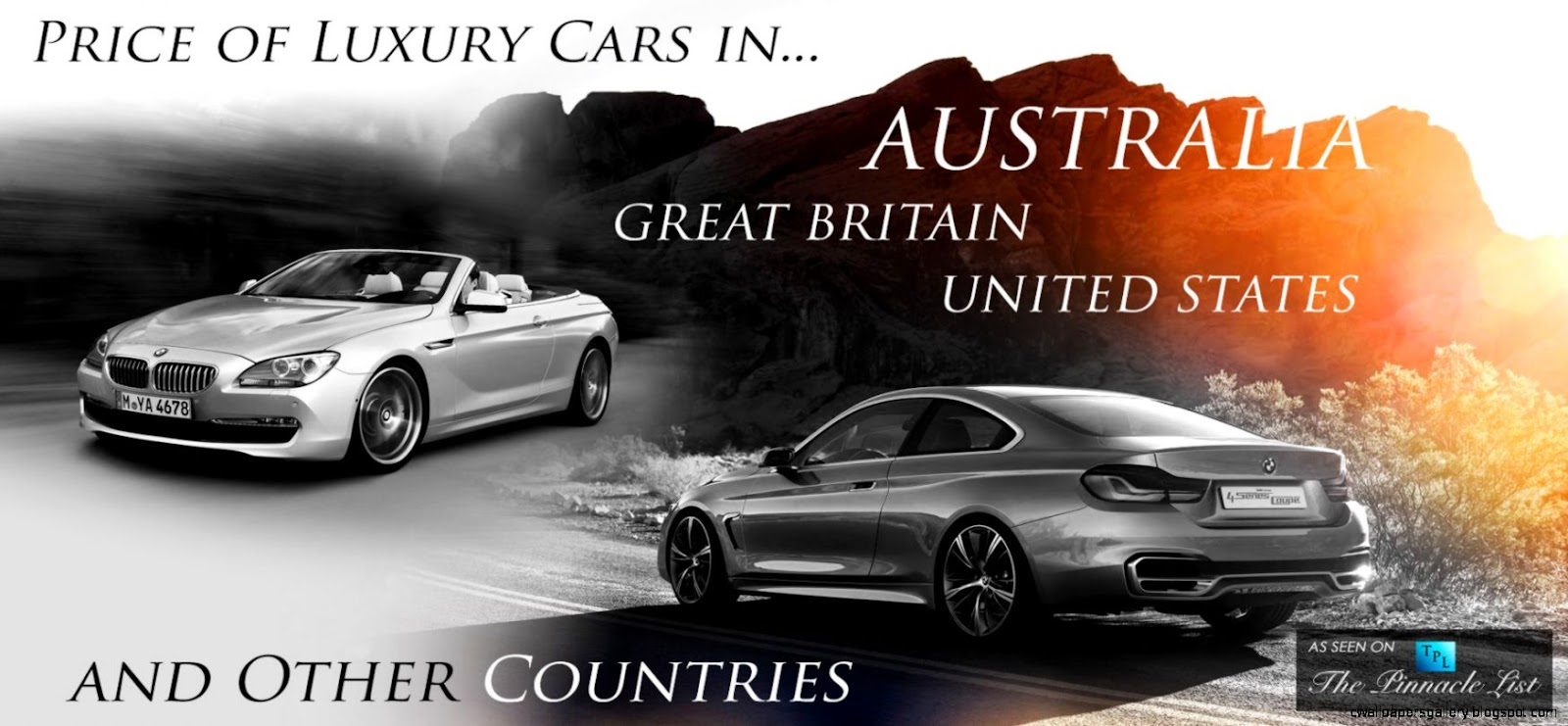Price of Luxury Cars in Australia vs Great Britain America and