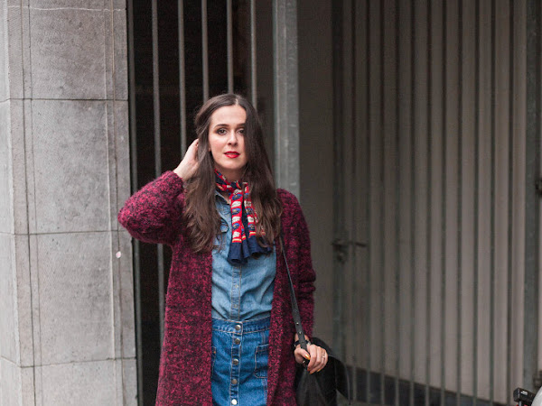 Outfit: double denim and neckscarf