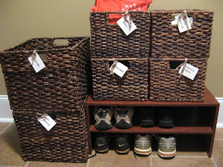 Laundry Room Storage - shoe rack and baskets