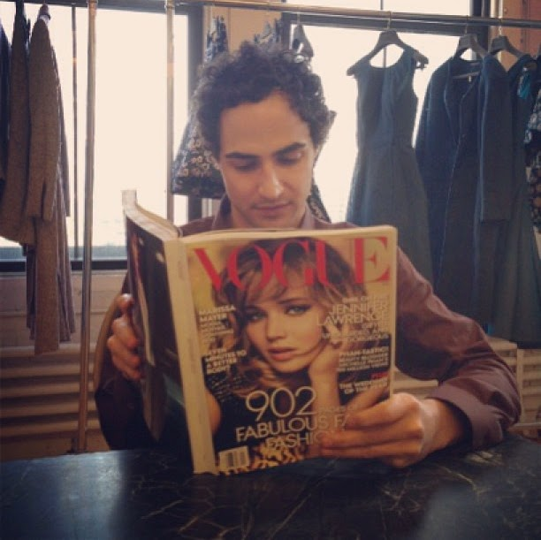 Zac Posen reading Vogue September issue 2013