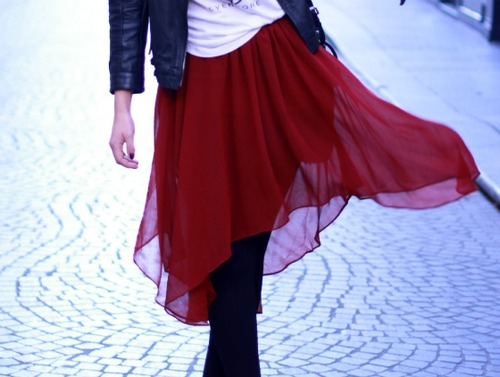 Burgundy sheer skirt