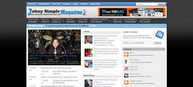 Johny Simple Magazine 2 Blogger Template