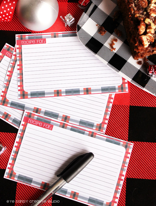 holiday baking, recipe cards to print, free recipe card download, plaid