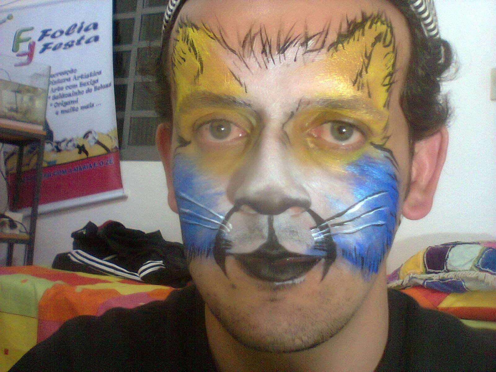 Pintura Facial Artística - Gato Colorido  014