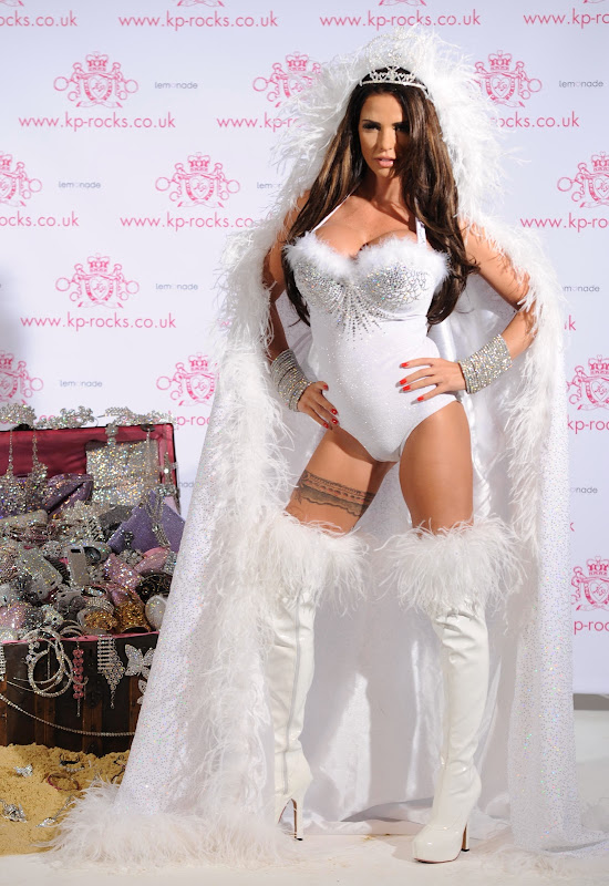 Katie Price posing in white leotard