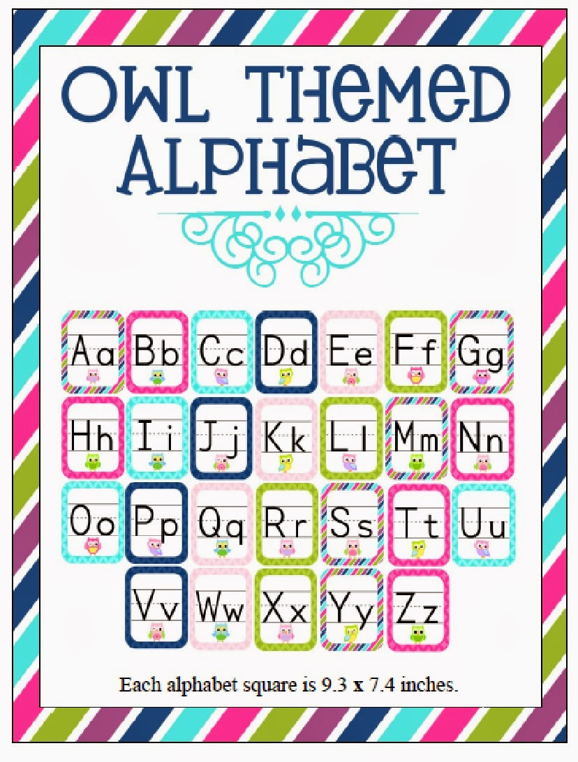 http://www.teacherspayteachers.com/Product/Owl-Themed-Classroom-ABCs-814524