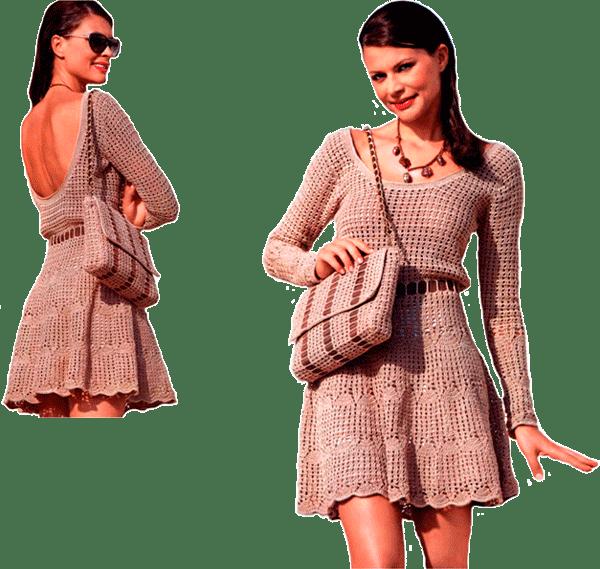 комплект телесного цвета: открытый на спине пуловер, юбка и изящная сумочка.