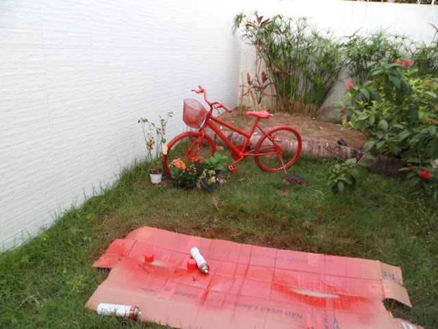 reciclagem - bicicleta porta-vasos - meu jardim