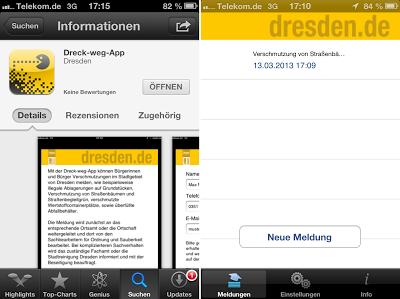 Dreck-Weg-App im Apple App-Store und Meldungsübersicht
