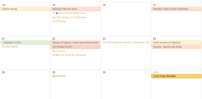 Snippet of Google Calendar for scheduling blogging tips