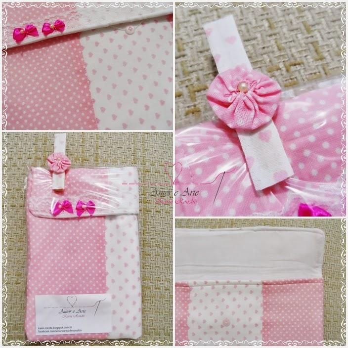 Case para tablet, capa em tecido - mix de estampas rosa em bolinhas brancas e branco com corações cor de rosa