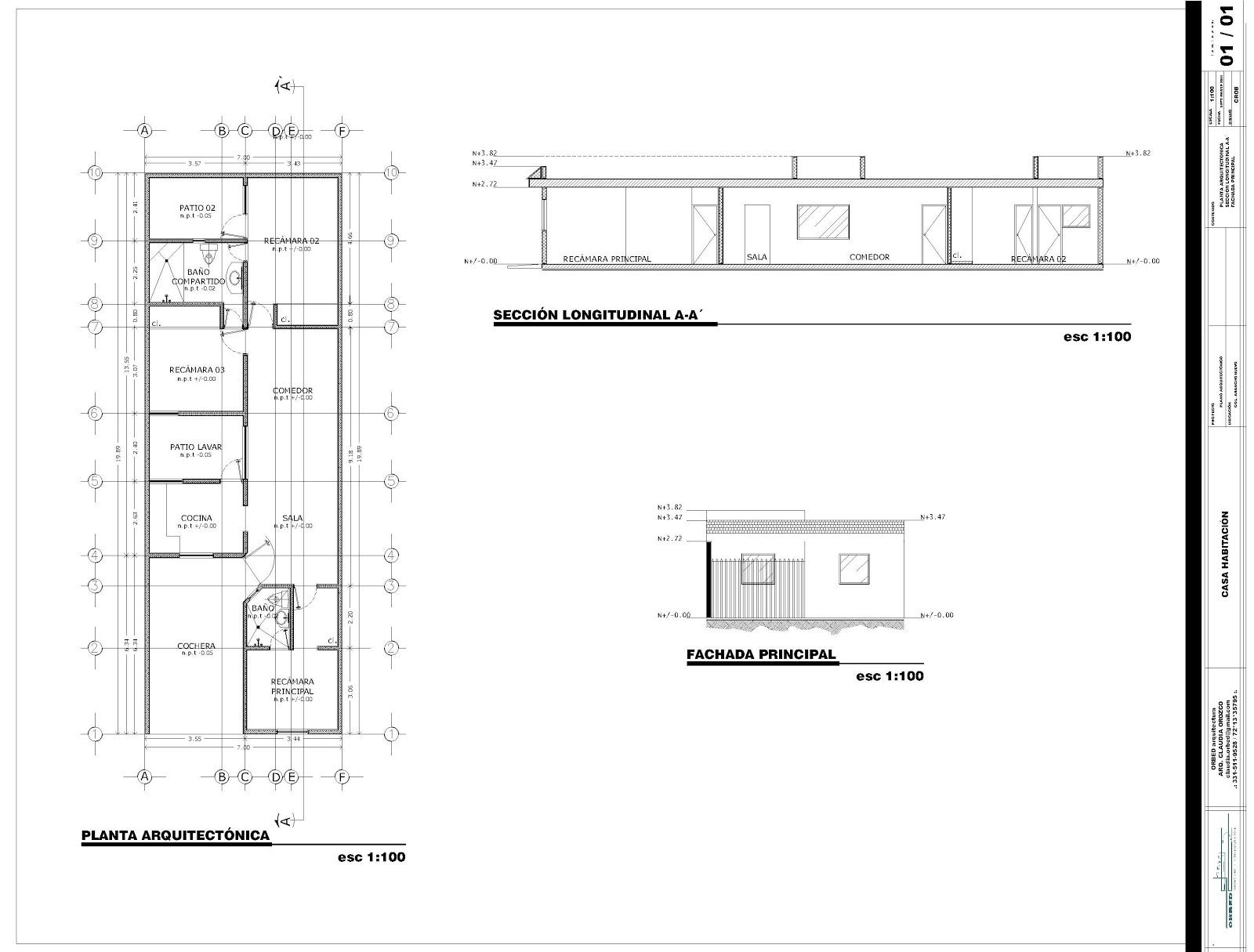 Orbed arquitectura construcci n casa habitaci n for Plano construccion casa