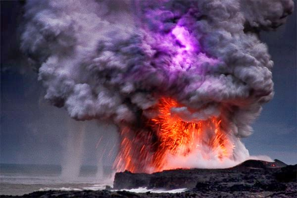 Volcano and Waterspout Hawaii
