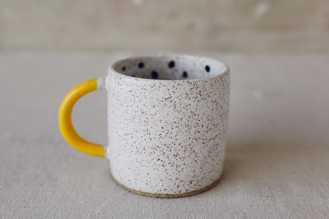 more and co homeware, kitchenware, mug design, yellow stone mug, yellow handle, american made homeware, made in american coffee cups, brooklyn community centre design