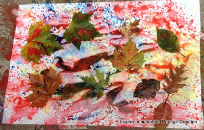 spray painting and leaves