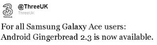 3UK: Samsung Galaxy Ace Gingerbread update