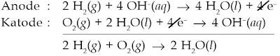 Reaksi yang terjadi pada sel bahan bakar hidrogen oksigen