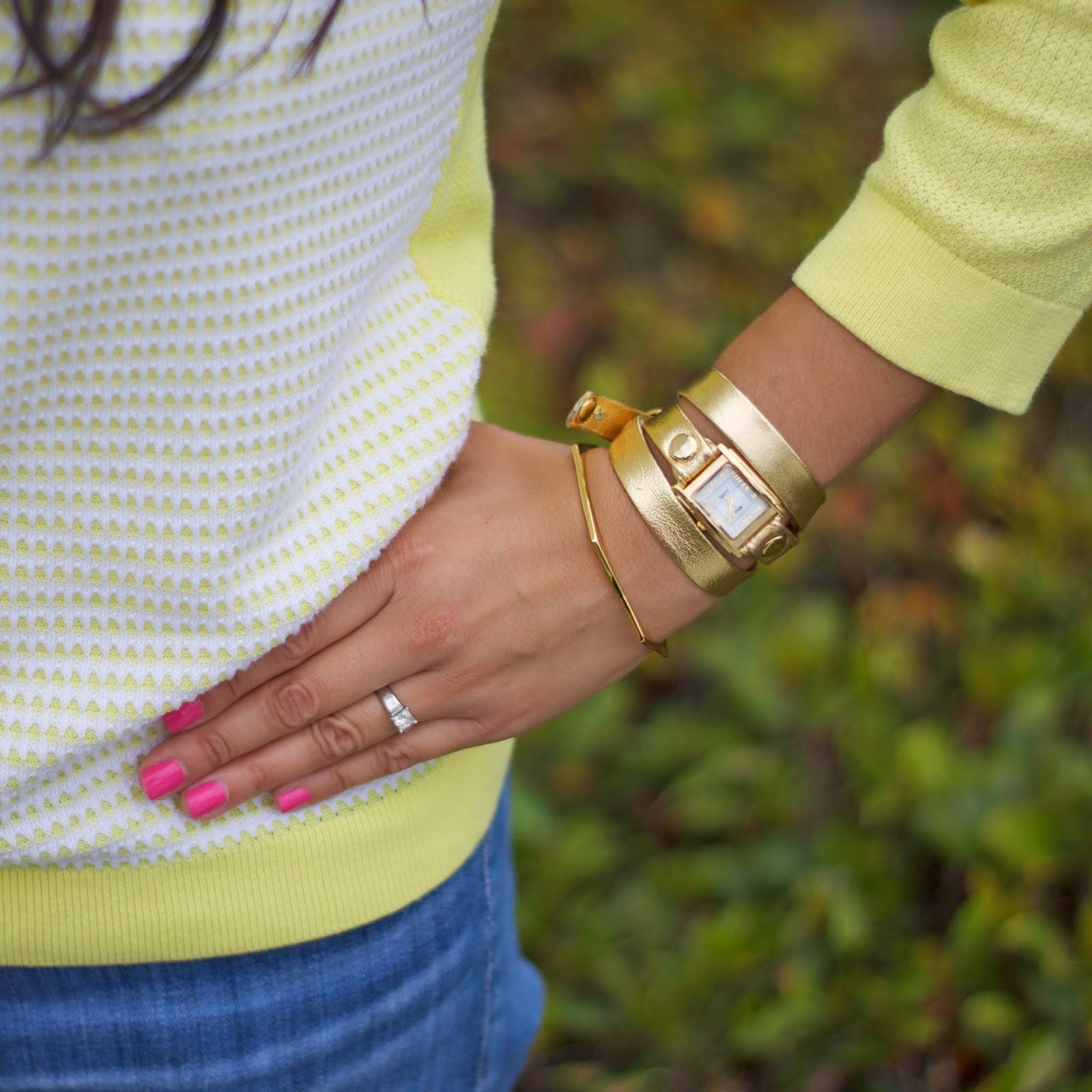 la mer gold wrap watch, gorjana bracelet happily grey collab, gorjana blogger