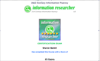 21st Century Information Fluency information researcher completion certificate