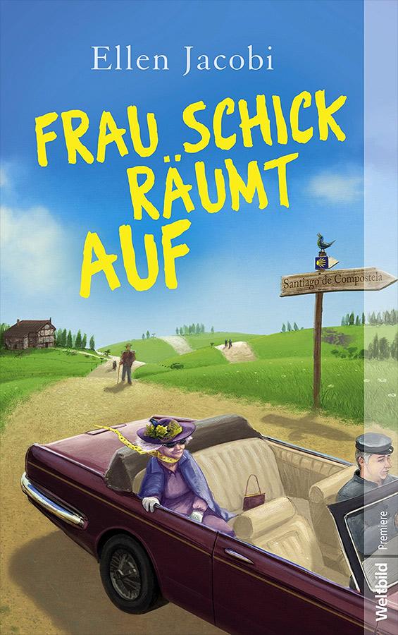 Cover illu für Ellen Jacobi - Frau Schick räumt auf - Ältere Dame wird rasant im Jaguar über den Jakobsweg gefahren - Stil Gerhard Glück - Dora Heldt