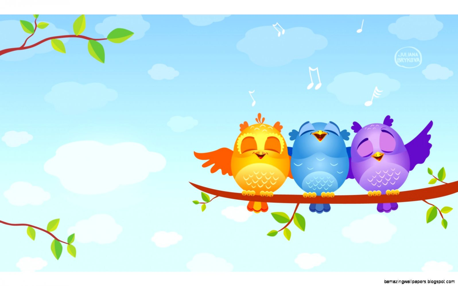 wallpaper musical birds animated tree branch leaves