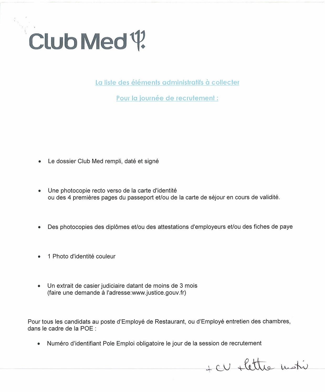 lettre motivation animateur club med