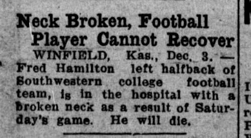 "A 100-year-old news clip stating that a football player's neck has been broken and ""he will die."""