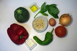 Calabacín relleno con huevo y dos salsas - ingredientes
