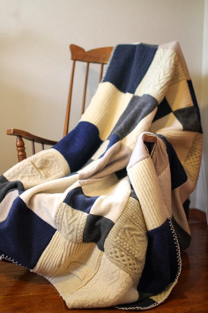 http://yellowsuitcasestudio.blogspot.com/2011/10/wool-sweater-blanket-tutorial.html