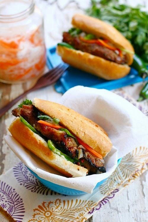 Vietnamese Food: Banh Mi with Lemongrass Pork