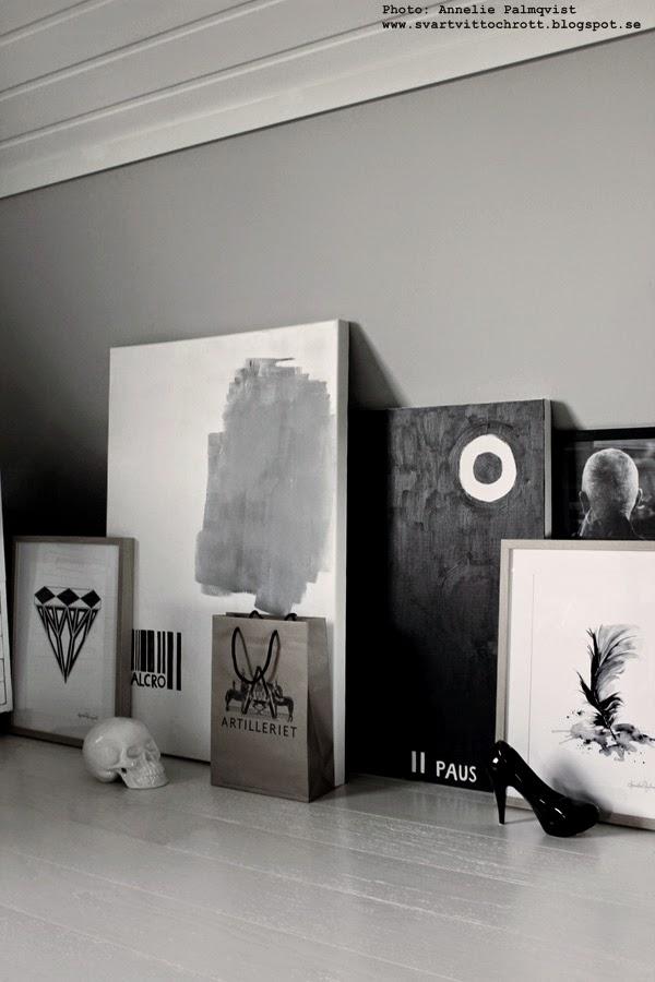 tavelvägg, svartvita tavlor, tavla, tavlorna, canvas, diamant, diamanter, fjäder, print, prints, konsttryck, färgprov, alcro,