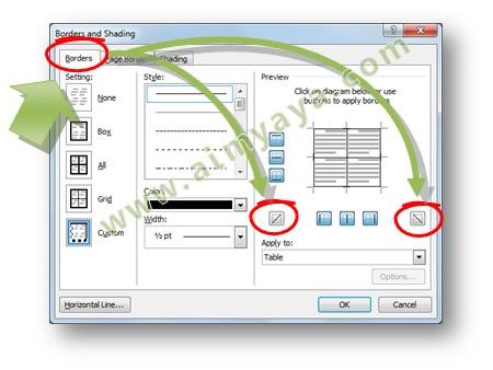 Gambar: Cara mudah membuat garis diagonal di cell tabel di Microsoft Word dengan menggunakan bantuan Dialog Border and shading