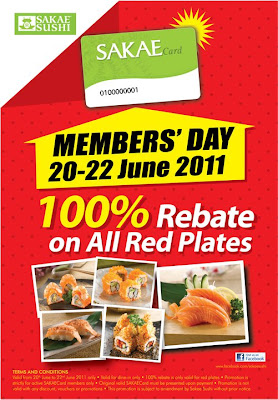 Sakae Sushi: 100% rebate for all RED plates | Freebies Land Malaysia
